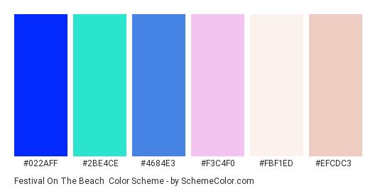 Festival on the Beach - Color scheme palette thumbnail - #022aff #2be4ce #4684e3 #f3c4f0 #fbf1ed #efcdc3