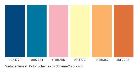 Vintage Sunset - Color scheme palette thumbnail - #02477e #0077a1 #F8B2BD #FFFAB3 #FDB367 #DE723A