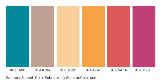Summer Sunset - Color scheme palette thumbnail - #028a9b #bfa194 #f8cf9b #f8a147 #de5a5a #bf3f76