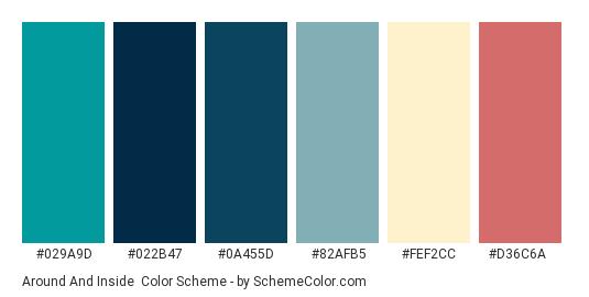 Around and Inside - Color scheme palette thumbnail - #029a9d #022b47 #0a455d #82afb5 #fef2cc #d36c6a