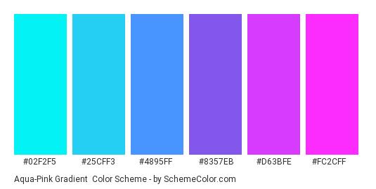 Aqua-Pink Gradient - Color scheme palette thumbnail - #02f2f5 #25cff3 #4895ff #8357eb #d63bfe #fc2cff