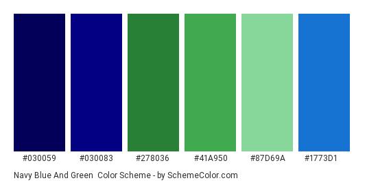 Navy Blue and Green - Color scheme palette thumbnail - #030059 #030083 #278036 #41a950 #87d69a #1773d1
