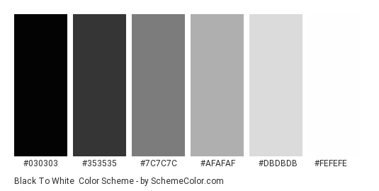 Black to White - Color scheme palette thumbnail - #030303 #353535 #7c7c7c #afafaf #dbdbdb #fefefe