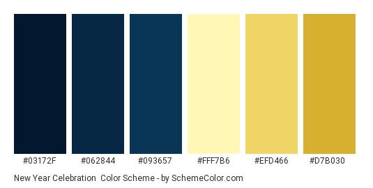 New Year Celebration - Color scheme palette thumbnail - #03172F #062844 #093657 #FFF7B6 #EFD466 #D7B030