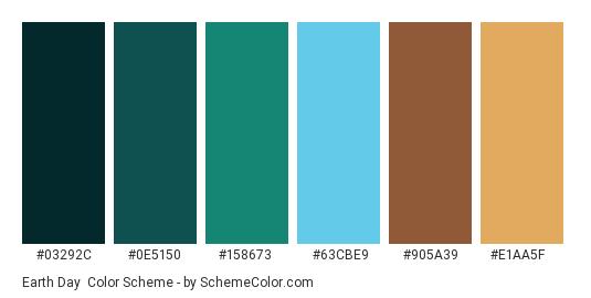 Earth Day - Color scheme palette thumbnail - #03292c #0e5150 #158673 #63cbe9 #905a39 #e1aa5f
