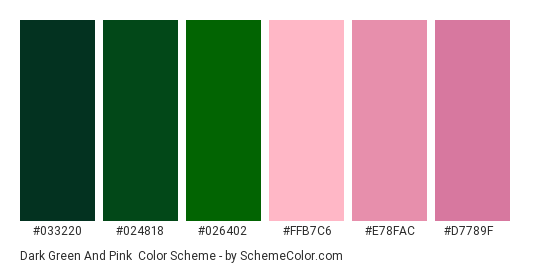 Dark Green and Pink - Color scheme palette thumbnail - #033220 #024818 #026402 #ffb7c6 #e78fac #d7789f