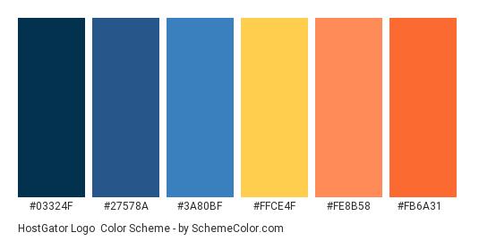 HostGator Logo - Color scheme palette thumbnail - #03324F #27578A #3A80BF #FFCE4F #FE8B58 #FB6A31