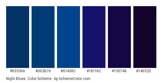 Night Blues - Color scheme palette thumbnail - #033366 #003b76 #01438c #18116c #130748 #14032d