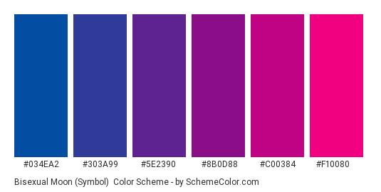 Bisexual Moon (Symbol) - Color scheme palette thumbnail - #034ea2 #303a99 #5e2390 #8b0d88 #c00384 #f10080