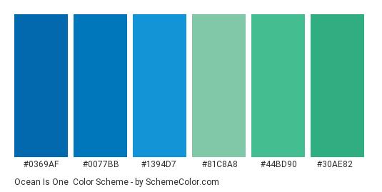 Ocean Is One - Color scheme palette thumbnail - #0369af #0077bb #1394d7 #81c8a8 #44bd90 #30ae82