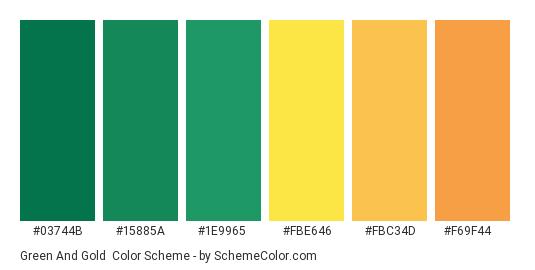 Green and Gold - Color scheme palette thumbnail - #03744b #15885a #1e9965 #fbe646 #fbc34d #f69f44