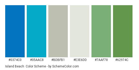 Island Beach - Color scheme palette thumbnail - #0374C0 #05AAC8 #BDBFB1 #E3E6DD #7AAF78 #62974C