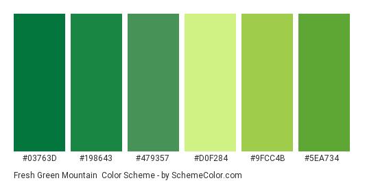 Fresh Green Mountain - Color scheme palette thumbnail - #03763d #198643 #479357 #d0f284 #9fcc4b #5ea734