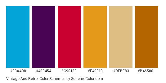 Vintage and Retro - Color scheme palette thumbnail - #03A4D8 #490454 #C90130 #E49919 #DEBE83 #B46500