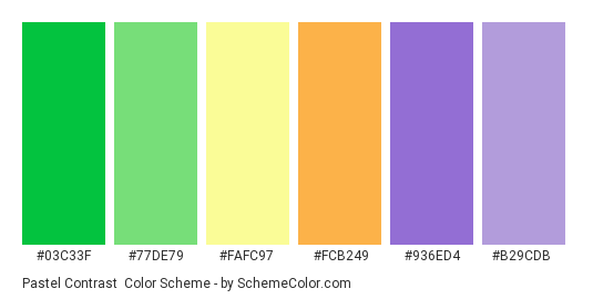 Pastel Contrast - Color scheme palette thumbnail - #03c33f #77de79 #fafc97 #fcb249 #936ed4 #b29cdb
