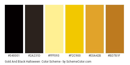 Gold and Black Halloween - Color scheme palette thumbnail - #040001 #2a231d #fff093 #f2c900 #e0a42b #bd7b1f