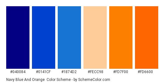 Navy Blue and Orange - Color scheme palette thumbnail - #040084 #0141cf #1874d2 #fecc98 #fd7f00 #fd6600