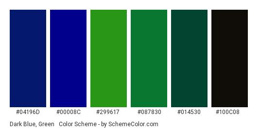 Dark Blue, Green & Black - Color scheme palette thumbnail - #04196D #00008C #299617 #087830 #014530 #100C08