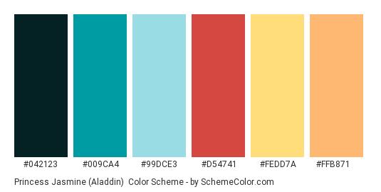 Princess Jasmine (Aladdin) - Color scheme palette thumbnail - #042123 #009ca4 #99dce3 #d54741 #fedd7a #ffb871