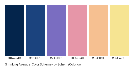 Shrinking Average - Color scheme palette thumbnail - #04254C #1B437E #7A6DC1 #E696A8 #F6C091 #F6E492
