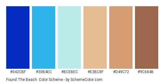 Found the Beach - Color scheme palette thumbnail - #042CBF #30B4EC #BCEBEC #E3BC8F #D49C72 #9C684B