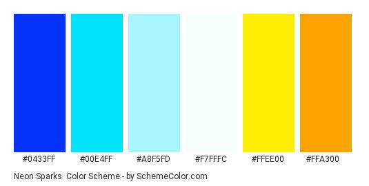 Neon Sparks - Color scheme palette thumbnail - #0433ff #00e4ff #a8f5fd #f7fffc #ffee00 #ffa300