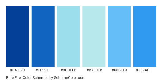 Blue Fire - Color scheme palette thumbnail - #043f98 #1165c1 #9cdeeb #b7e8eb #66bef9 #309af1