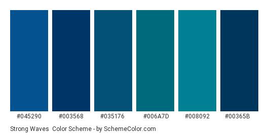 Strong Waves - Color scheme palette thumbnail - #045290 #003568 #035176 #006a7d #008092 #00365b