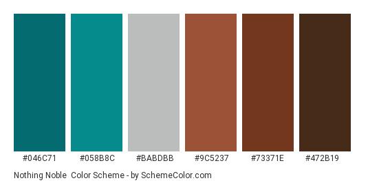 Nothing Noble - Color scheme palette thumbnail - #046C71 #058B8C #babdbb #9C5237 #73371E #472B19