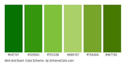 Mint and Basil - Color scheme palette thumbnail - #047101 #33950c #7ec23b #a8d167 #75a42a #467700