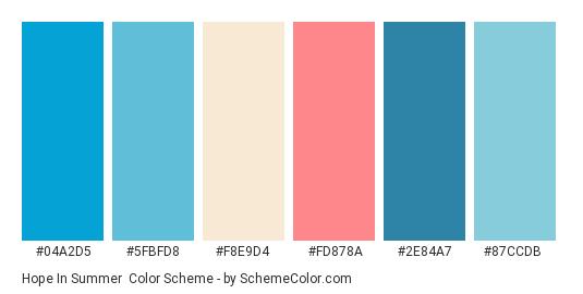 Hope in Summer - Color scheme palette thumbnail - #04a2d5 #5fbfd8 #f8e9d4 #fd878a #2e84a7 #87ccdb