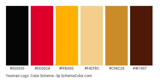 Yeoman Logo - Color scheme palette thumbnail - #050505 #dd002a #ffb000 #f4cf8c #c98c28 #4f1907