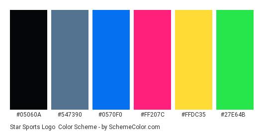 Star Sports Logo - Color scheme palette thumbnail - #05060a #547390 #0570f0 #ff207c #ffdc35 #27e64b