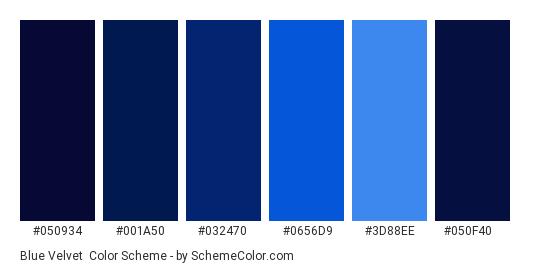 Blue Velvet - Color scheme palette thumbnail - #050934 #001a50 #032470 #0656d9 #3d88ee #050f40