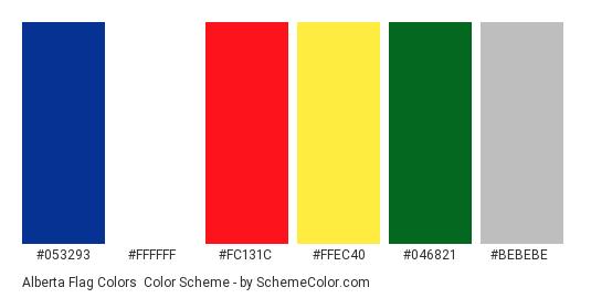 Alberta Flag Colors - Color scheme palette thumbnail - #053293 #ffffff #fc131c #ffec40 #046821 #bebebe