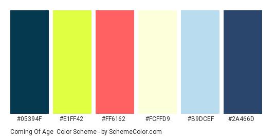 Coming of Age - Color scheme palette thumbnail - #05394F #E1FF42 #FF6162 #FCFFD9 #B9DCEF #2A466D