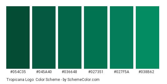Tropicana Logo - Color scheme palette thumbnail - #054c35 #045a40 #036648 #027351 #027f5a #038b62