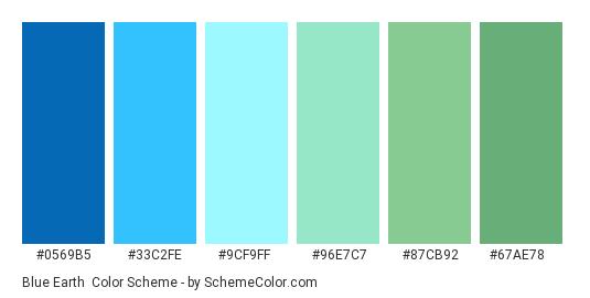 Blue Earth - Color scheme palette thumbnail - #0569B5 #33C2FE #9CF9FF #96E7C7 #87CB92 #67AE78
