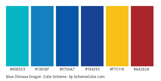 Blue Chinese Dragon - Color scheme palette thumbnail - #05b5c3 #1381bf #0756a7 #184293 #f7c118 #aa262a