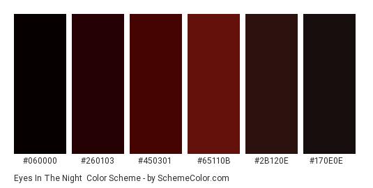 Eyes in the Night - Color scheme palette thumbnail - #060000 #260103 #450301 #65110b #2b120e #170e0e
