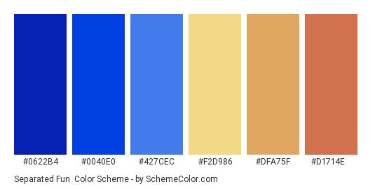 Separated Fun - Color scheme palette thumbnail - #0622B4 #0040E0 #427CEC #f2d986 #dfa75f #d1714e