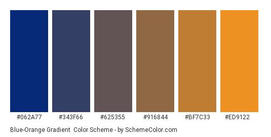 Blue-Orange Gradient - Color scheme palette thumbnail - #062A77 #343F66 #625355 #916844 #BF7C33 #ED9122