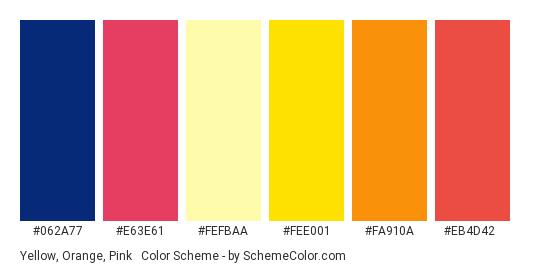 Yellow, Orange, Pink & Blue - Color scheme palette thumbnail - #062a77 #e63e61 #fefbaa #fee001 #fa910a #eb4d42