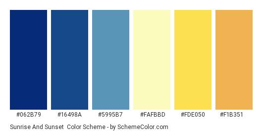 Sunrise and Sunset - Color scheme palette thumbnail - #062b79 #16498a #5995b7 #fafbbd #fde050 #f1b351