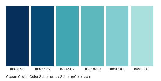 Ocean Cover - Color scheme palette thumbnail - #062f5b #084a76 #41a5b2 #5cb8bd #82cdcf #a9e0de