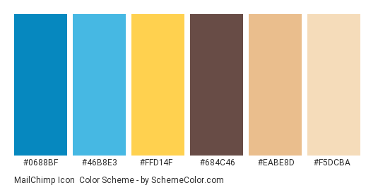 MailChimp Icon - Color scheme palette thumbnail - #0688bf #46b8e3 #ffd14f #684c46 #eabe8d #f5dcba