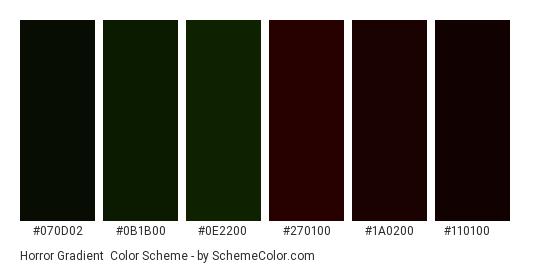 Horror Gradient - Color scheme palette thumbnail - #070d02 #0b1b00 #0e2200 #270100 #1a0200 #110100