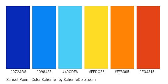 Sunset Poem - Color scheme palette thumbnail - #072AB8 #0984F3 #49CDF6 #FEDC26 #FF8305 #E34315