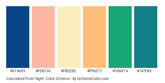 Concealed from Sight - Color scheme palette thumbnail - #074689 #fdb7a1 #f8eebe #ffbe77 #18a874 #147f88