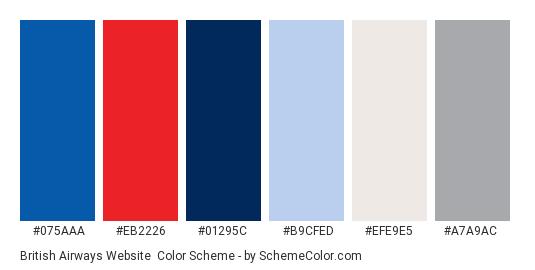 British Airways Website - Color scheme palette thumbnail - #075aaa #eb2226 #01295c #b9cfed #efe9e5 #a7a9ac